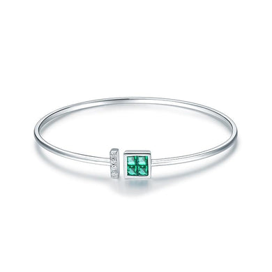 JEWELRY 14K White Gold Natural Colombia Emerald Diamond Bangle - EK CHIC