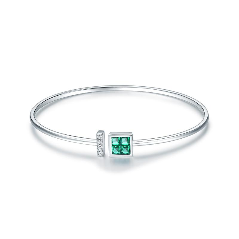 14K White Gold Natural Colombia Emerald  Diamond  Bangle - EK CHIC