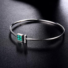 Load image into Gallery viewer, 14K White Gold Natural Colombia Emerald  Diamond  Bangle - EK CHIC