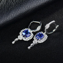 Load image into Gallery viewer, JEWELRY Solid 18k Gold Natural Tanzanite Drop Earrings - EK CHIC
