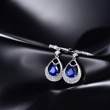 Load image into Gallery viewer, JEWELRY 18K White Gold Natural Blue Sapphire Earrings Drop Earrings - EK CHIC