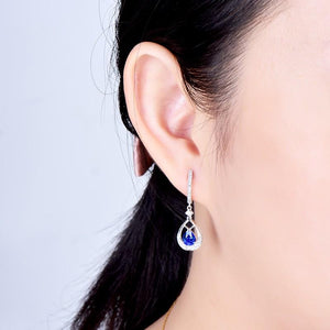 JEWELRY 18K White Gold Natural Blue Sapphire Earrings Drop Earrings - EK CHIC