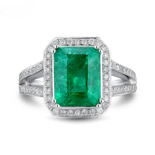 Load image into Gallery viewer, Vintage Emerald Cut 8x10mm Solid 18k White Gold Natural Colombian Emerald Ring - EK CHIC