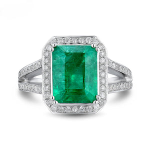 Vintage Emerald Cut 8x10mm Solid 18k White Gold Natural Colombian Emerald Ring - EK CHIC