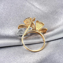 Load image into Gallery viewer, 18K Two Tone Gold Diamonds Flower Ring - EK CHIC
