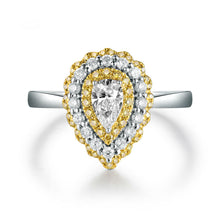 Load image into Gallery viewer, JEWELRY Luxury Design Solid 14Kt White Gold Natural White/Yellow Diamond Wedding Ring - EK CHIC