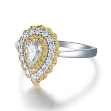 Load image into Gallery viewer, Luxury Design Solid 14Kt White Gold Natural White/Yellow Diamond Wedding Ring - EK CHIC