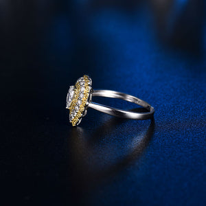 Luxury Design Solid 14Kt White Gold Natural White/Yellow Diamond Wedding Ring - EK CHIC