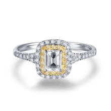 Load image into Gallery viewer, Luxury Solid 14Kt White Gold Natural Emerald cut Diamond Ring - EK CHIC