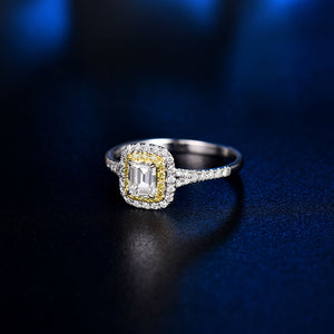 Luxury Solid 14Kt White Gold Natural Emerald cut Diamond Ring - EK CHIC