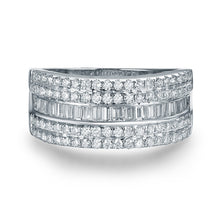 Load image into Gallery viewer, JEWELRY Solid 14K White Gold Baguette Diamond Wedding Ring - EK CHIC
