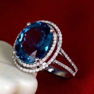 Solid 14Kt White Gold Natural Topaz Engagement Ring with Diamond - EK CHIC