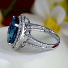 Load image into Gallery viewer, Solid 14Kt White Gold Natural Topaz Engagement Ring with Diamond - EK CHIC