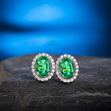 Load image into Gallery viewer, Solid 14K White Gold Natural Diamond Emerald Earrings - EK CHIC