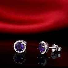 Load image into Gallery viewer, Vintage Round 5mm Solid 14kt White Gold Natural Purple Amethyst Earrings - EK CHIC