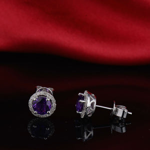 Vintage Round 5mm Solid 14kt White Gold Natural Purple Amethyst Earrings - EK CHIC