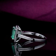 Load image into Gallery viewer, JEWELRY 14k White Gold Diamond Emerald Engagement Ring for Women - EK CHIC