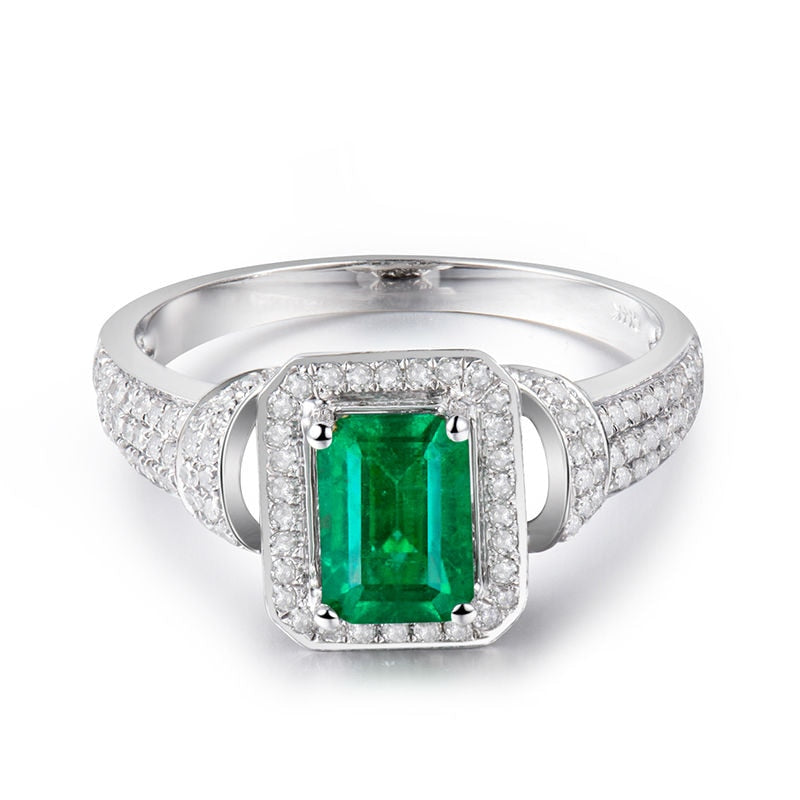 JEWELRY Solid 14k White Gold 1.25ct Natural Columbian Emerald & Diamond Wedding Ring - EK CHIC