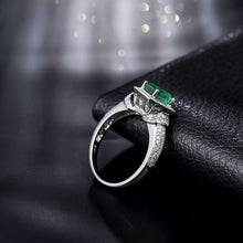 Load image into Gallery viewer, JEWELRY Solid 14k White Gold 1.25ct Natural Columbian Emerald & Diamond Wedding Ring - EK CHIC