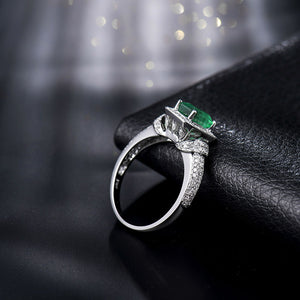 Solid 14k White Gold 1.25ct Natural  Columbian Emerald & Diamond Wedding Ring - EK CHIC