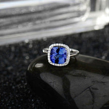 Load image into Gallery viewer, JEWELRY 18K White Gold Natural Tanzanite With Diamonds Engagement Ring - EK CHIC