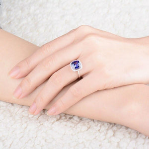 JEWELRY 18K White Gold Natural Tanzanite With Diamonds Engagement Ring - EK CHIC