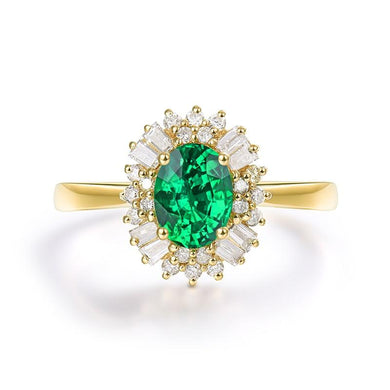 JEWELRY 14K Yellow Gold Colombian Emerald & Natural Diamond Ring - EK CHIC