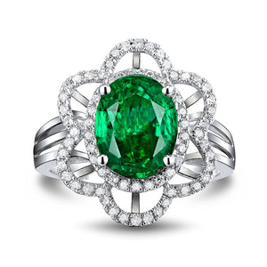 JEWELRY Solid 18K White Gold Diamond Natural Green Emerald Ring - EK CHIC