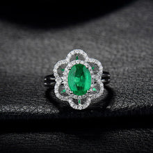 Load image into Gallery viewer, JEWELRY Solid 18K White Gold Diamond Natural Green Emerald Ring - EK CHIC