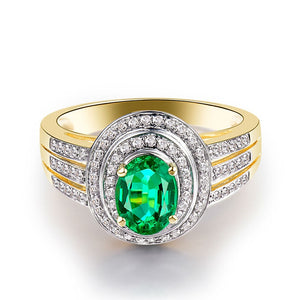 JEWELRY Oval 6x8mm 2.16Ct Solid 14kt Yellow Gold Natural Emerald Wedding Engagement Ring - EK CHIC