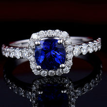 Load image into Gallery viewer, JEWELRY Cushion 18Kt White Gold Natural Tanzanite Engagement Ring - EK CHIC