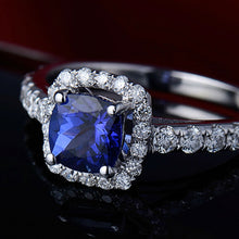 Load image into Gallery viewer, Cushion  18Kt White Gold Natural Tanzanite Engagement Ring - EK CHIC