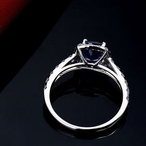 Cushion  18Kt White Gold Natural Tanzanite Engagement Ring - EK CHIC