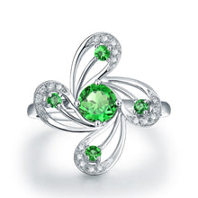 Load image into Gallery viewer, Flower Shape Natural Tsavorite Ring Real 14K White Gold - EK CHIC
