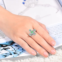 Load image into Gallery viewer, JEWELRY Flower Shape Natural Tsavorite Ring Real 14K White Gold - EK CHIC