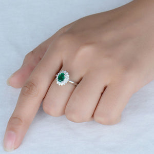 JEWELRY Solid 14K White Emerald Diamond Gold - EK CHIC