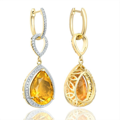 JEWELRY 14K Yellow Gold Natural Citrine Earrings - EK CHIC