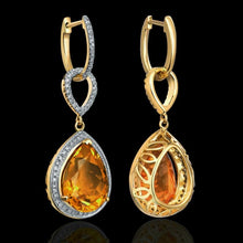Load image into Gallery viewer, 14K Yellow Gold Natural Citrine Earrings - EK CHIC