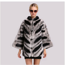 Load image into Gallery viewer, FUR COAT Chinchilla Coat Bat Sleeved Mandarin Collar Fur Coat - EK CHIC