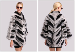 FUR COAT Chinchilla Coat Bat Sleeved Mandarin Collar Fur Coat - EK CHIC