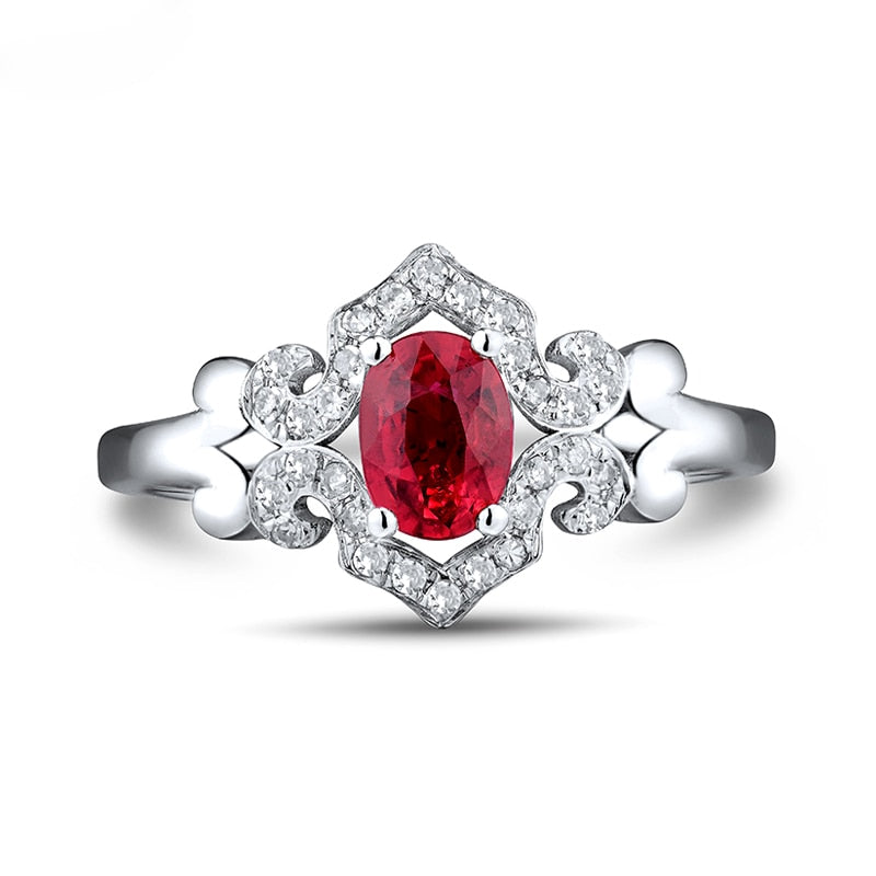 JEWELRY Solid 18Kt White Gold Oval 5x7mm Ruby Engagement Ring - EK CHIC