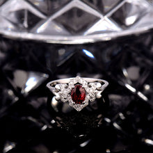 Load image into Gallery viewer, JEWELRY Solid 18Kt White Gold Oval 5x7mm Ruby Engagement Ring - EK CHIC
