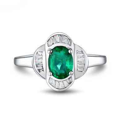 JEWELRY Vintage Solid 18Kt White Gold Natural Diamond Emerald Engagement Ring - EK CHIC