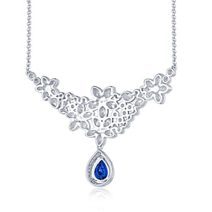 JEWELRY Luxury Solid 18K White Gold Natural Blue Pear Sapphire - EK CHIC