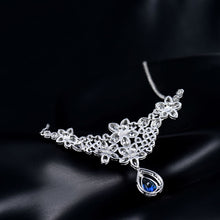 Load image into Gallery viewer, JEWELRY Luxury Solid 18K White Gold Natural Blue Pear Sapphire - EK CHIC