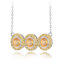 Load image into Gallery viewer, JEWELRY Solid 18K White Gold Yellow Sapphire Diamonds Pendant Necklace - EK CHIC