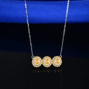 JEWELRY Solid 18K White Gold Yellow Sapphire Diamonds Pendant Necklace - EK CHIC