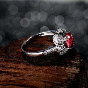 JEWELRY SI Clarify 0.40ct Diamond Red Ruby Wedding Rings Solid 14Kt White Gold - EK CHIC