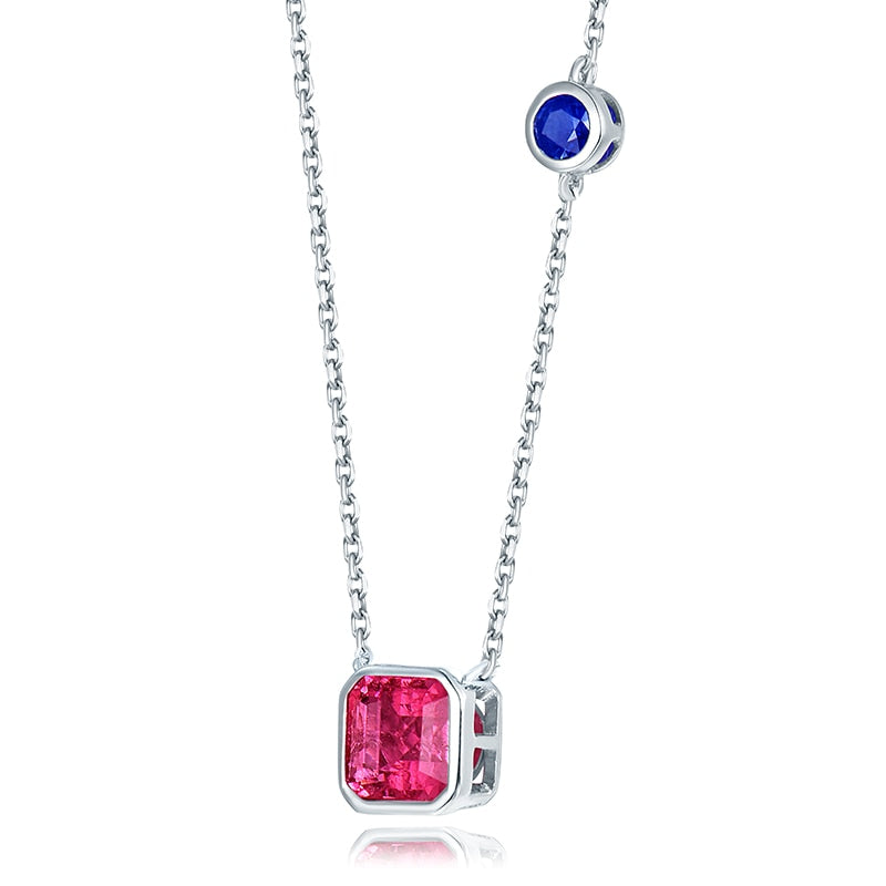 Solid 18K White Gold Natural Pink Tourmaline & Sapphire  Pendant Necklace - EK CHIC