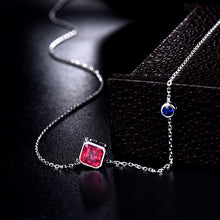 Load image into Gallery viewer, Solid 18K White Gold Natural Pink Tourmaline & Sapphire  Pendant Necklace - EK CHIC
